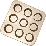 Fishonly Carbon Steel Nonstick 9 Cups Muffin Pan Cupcake Tart Mold Tray Cookie Bake Pan (Round)