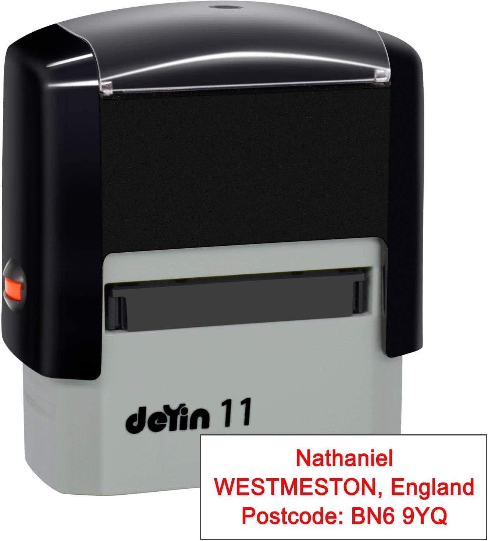 Black 38 x 14mm -3 Lines Personalised Stamp - Custom Self Inking Rubber Stamps- Return Custom Address Stamp