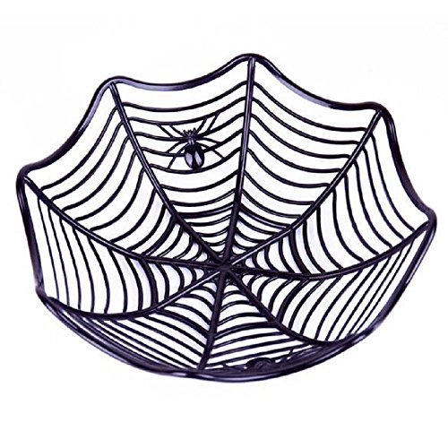 EBTOYS Halloween Spider Web Candy Biscuit Snack Fruit Plate Basket for Kindergarten Home Dining Room Bars Halloween Props Party Supplies Gift - Black -