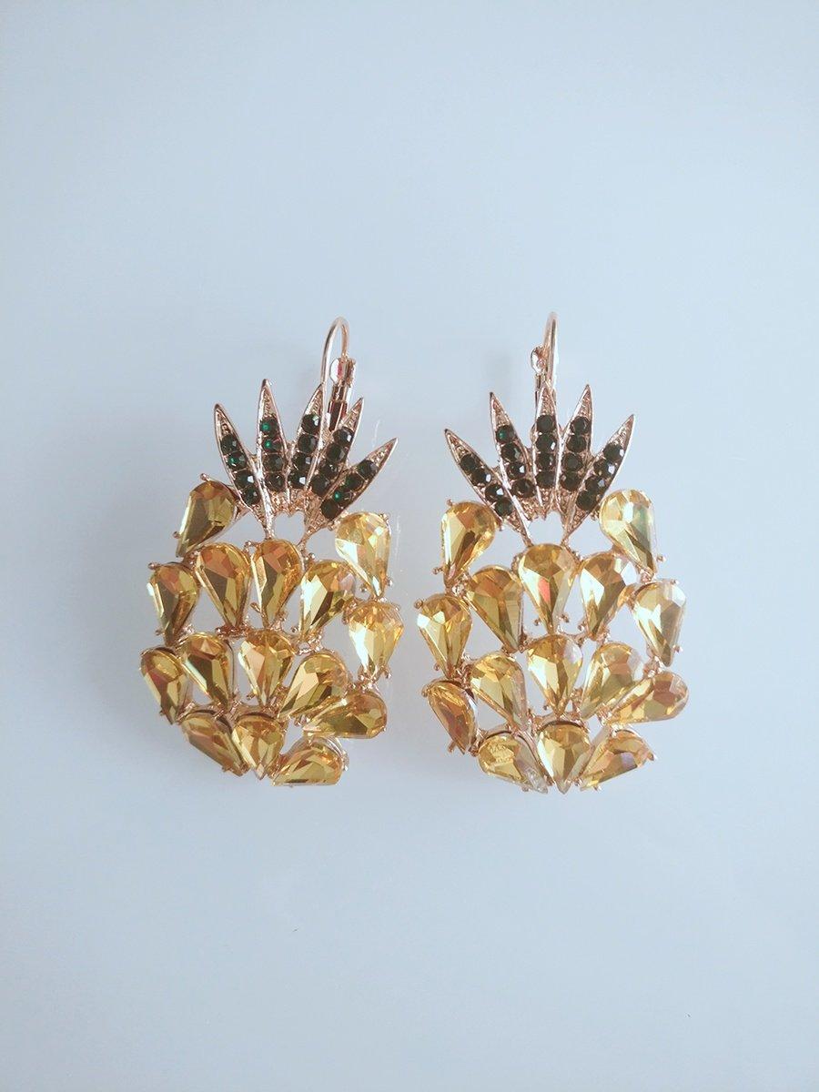 Kololo bling-bling crystal pineapple drip drop fashionable earrings (Brass)