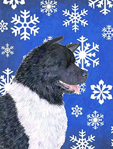 Caroline's Treasures SS4659GF Akita Winter Snowflakes Holiday Flag, Small, Multicolor