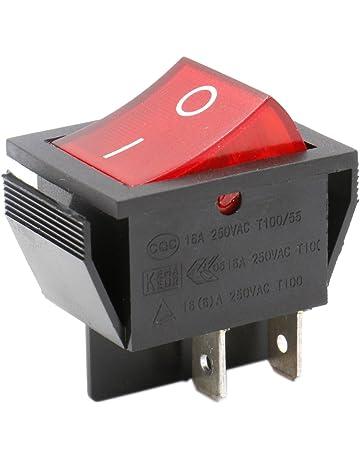 Heschen - Interruptor basculante DPST de encendido y apagado, 4 terminales, luz roja,