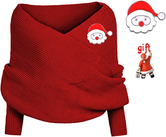 2020 New Women Knitted Wrap Scarf, Fashion Women Winter Scarf Warm Knit Sweater Tops Scarf with Sleeve Wrap Scarf Shawl Scarves Scarf Cape Shawl red at Amazon Men's Clothing store