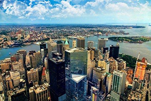 Aerial View Financial District Lower Manhattan New York City