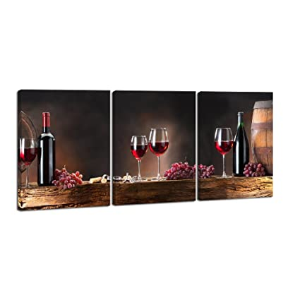 Pyradecor 3 Panels Red Wine Bottle And Barrel Grape Fruit Artwork Modern  Gallery Wrapped Giclee Canvas