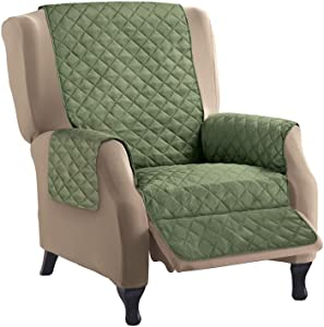 Collections Etc Reversible Quilted Furniture Protector Cover, Olive/Sage, Recliner