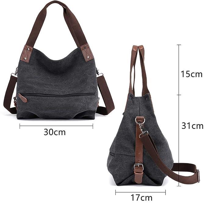 6a99cb12b9e4f Huttoly Canvas Tasche Damen Umhängetaschen Handtasche Vintage Schultertasche  Crossbody Bag Tasche Shopper Beuteltasche  Amazon.de  Koffer