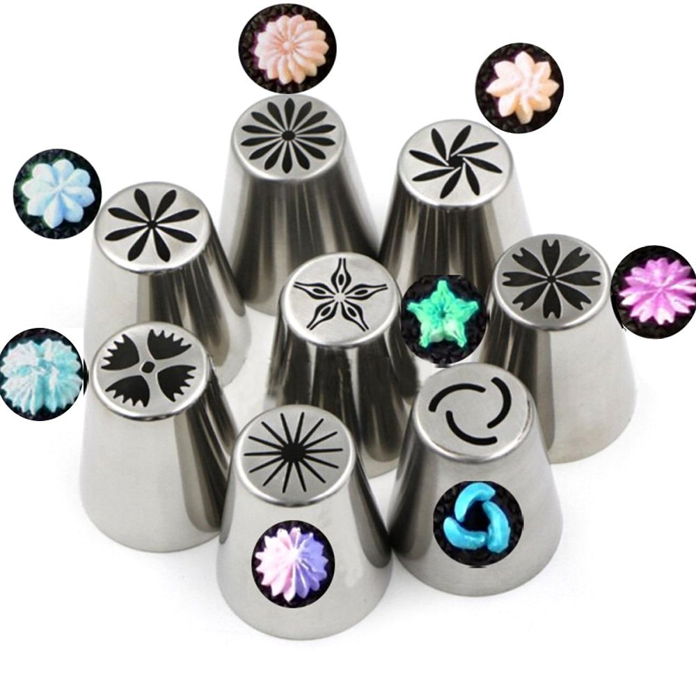 WIWIR Flower Russian Piping Tips Large Stainless Steel Piping Nozzles Cupcake Cake Decorating Tool with Coupler (29PS/Set)