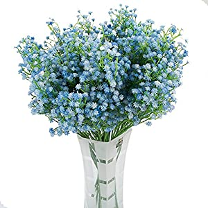 Lothver 9 pcs Artificial Baby Breath Real Touch Artificial Flowers White Gypsophila for Home and Wedding Decorations White … 19