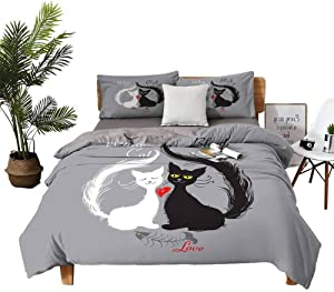 DRAGON VINES Sheets Cat Pocket Full of Sheets Pair of Cats in Love Having Eaten Fish Red Heart Romantic Black and White Kitties W79 xL90 Black White Grey