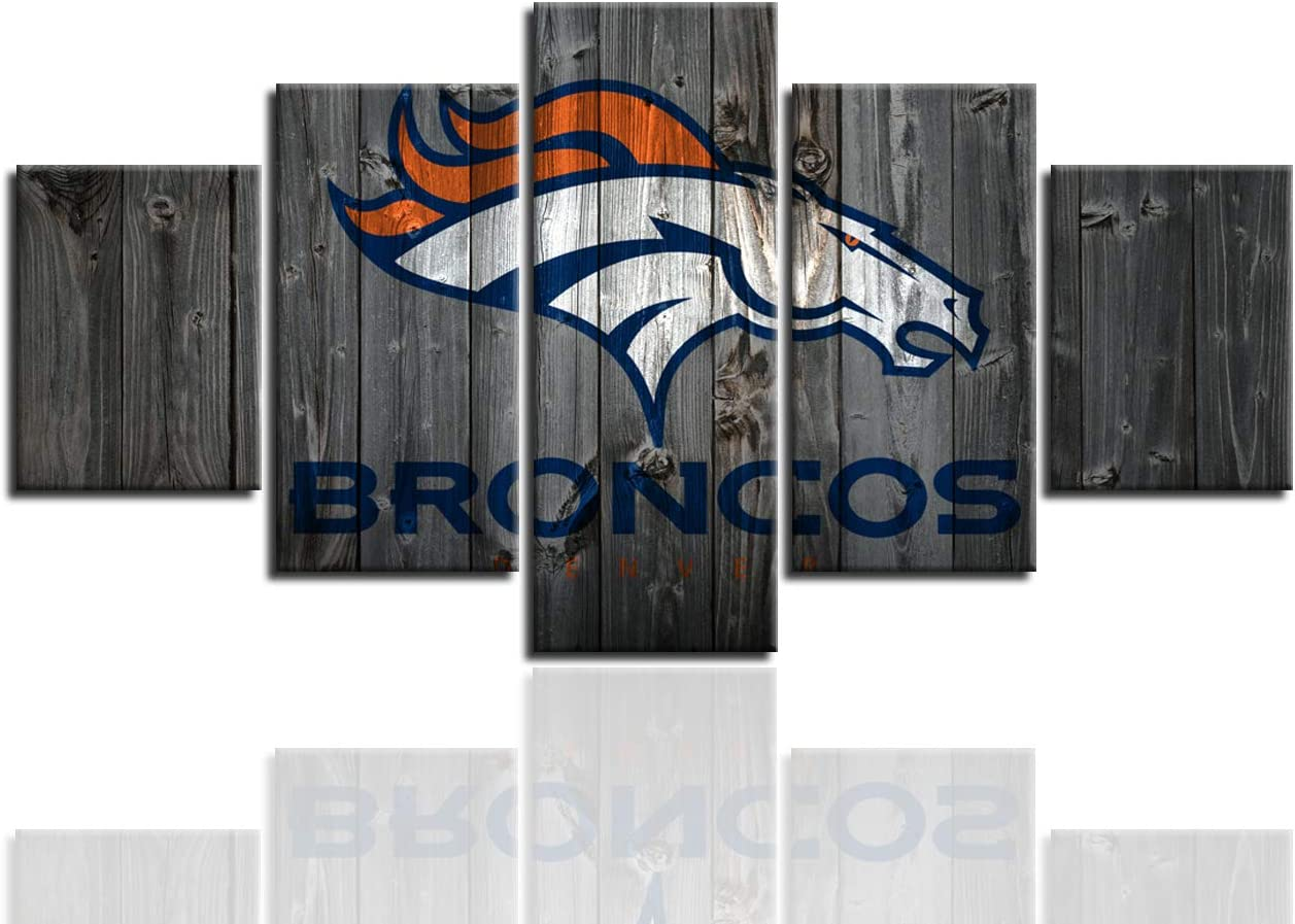 MIAUEN Wall Decor Canvas Prints Wall Art Denver Broncos Pictures 5 Piece Posters Paintings for Living Room Framed Artwork Ready to Hang(60''Wx32''H)