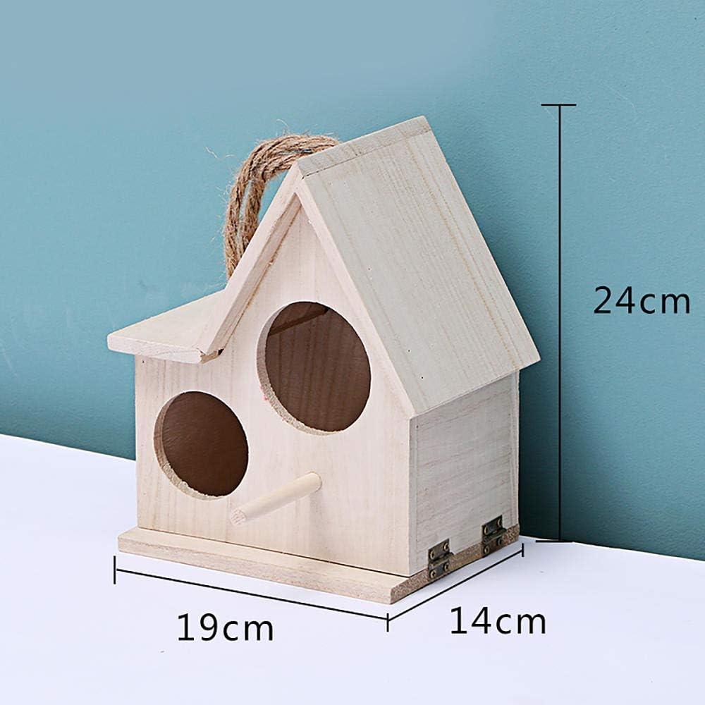 Tlwrnop Casas para Pájaros Nidos para Pájaros Casa De Pájaros De Madera Caja De Cría Nido De Pájaros Chalet Jaula Manual Accesorios De Jardín Casa Al Aire Libre Decoración Colgante Al Aire Libre @ G