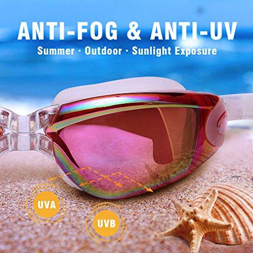 GAOGE-Swim-Goggles-Swimming-Goggles-Swim-Cap-Case-Nose-Clip-Ear-Plugs-Triathlon-Swim-Goggles-Anti-Fog-Shatterproof-UV-Protection-for-Adult-Men-Women-Youth-Kids-Child-Lake-Red