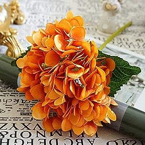 GSD2FF Artificial Flowers Silk Hydrangea Bride Bouquet Wedding Home New Year Decoration Accessories Flower Arrangement,Orange 25