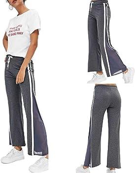 RISTHY Pantalones Rectos Mujer Pantalones Ajustados Largos Cintura ...