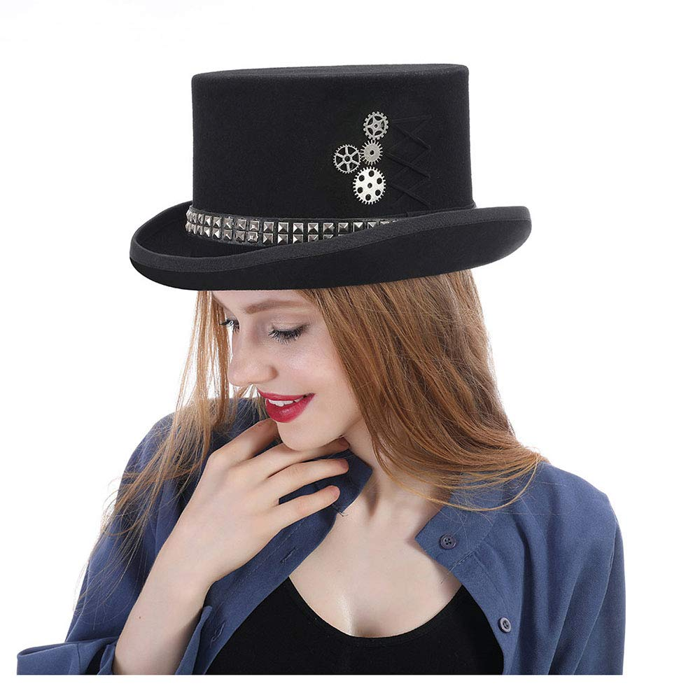LL Women's Steampunk Top Hat Steam Punk Fedoras Top Hat Topper (Color : Black, Size : 59CM)