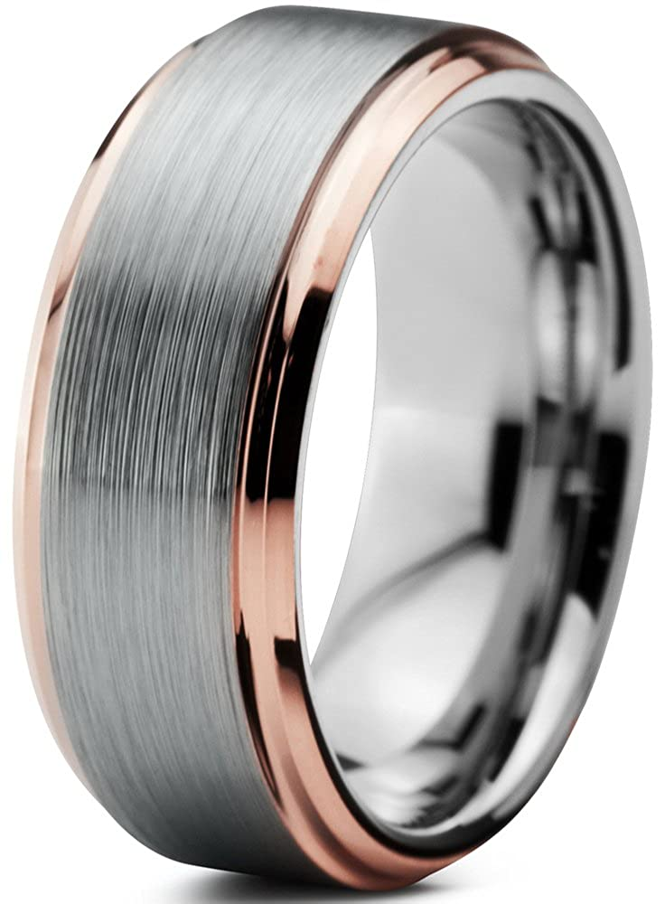 Tungsten Wedding Band Ring 8mm for Men Women Comfort Fit 18K Rose Gold Plated Beveled Edge Brushed Polished Charming Jewelers CJCDN-376-B
