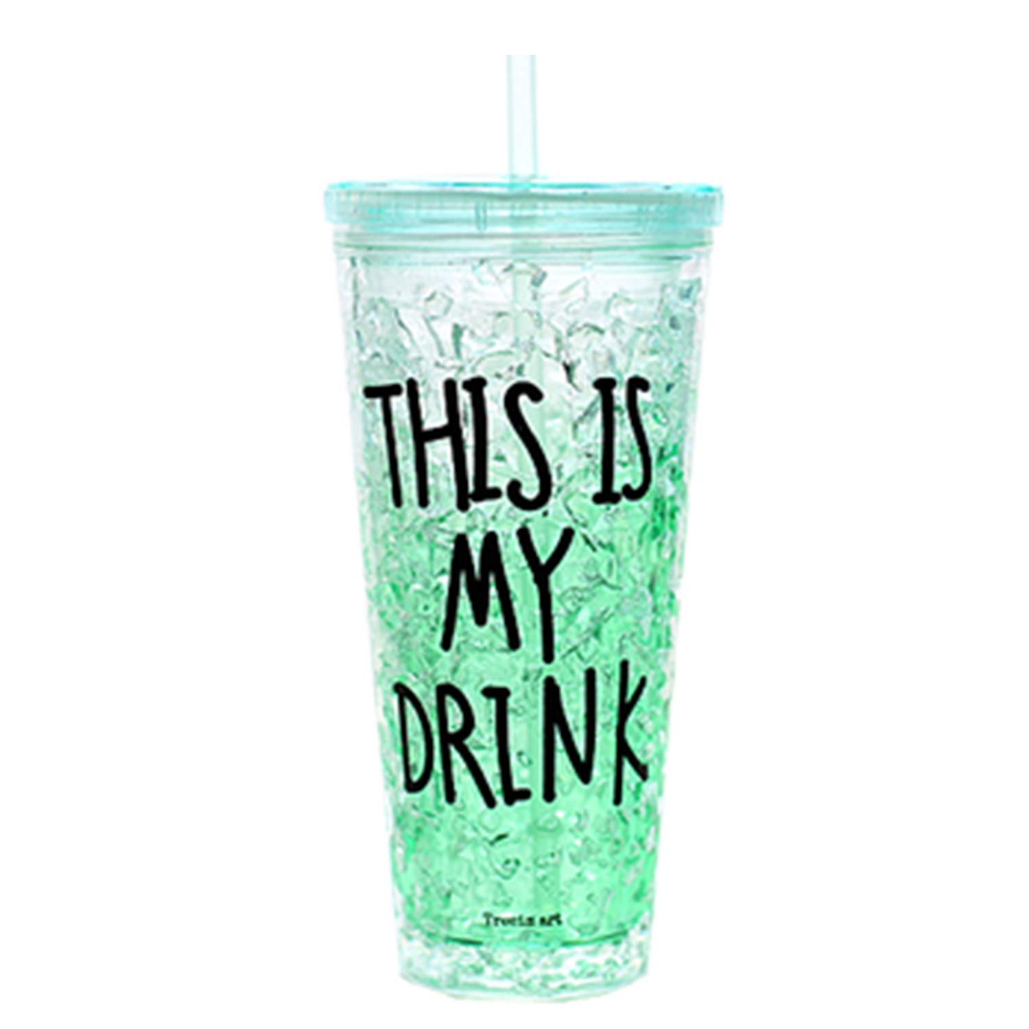 SAVORLIVING Acrylic Tumblers Insulated Tumbler Take Away Gel Freezer Cups Double Walled Acrylic Insulated Cups with Lids and Straws Gel Freezer, 22oz (Green)