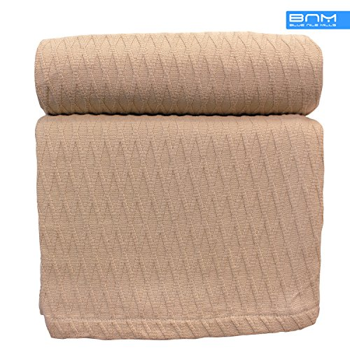 Diamond King Cotton Throw Blanket, Breathable Thermal Bed/Sofa Blanket Couch, Snuggle in these Super Soft Cozy Cotton Blankets - Perfect for Layering any Bed, Khaki