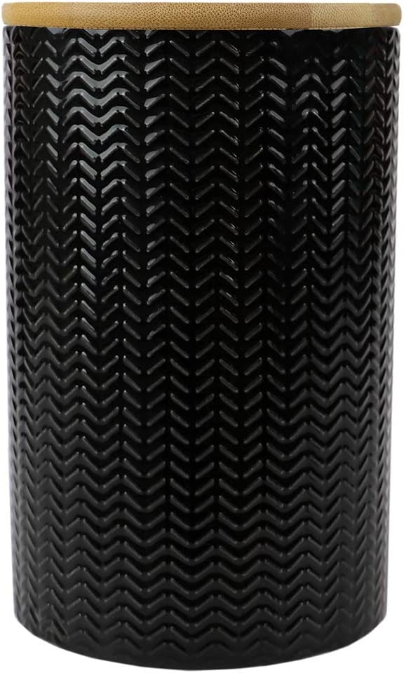 Home Basics Ceramic Canister (Large, Black)