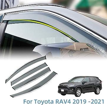4 PCS Set for Nissan Sentra 2013-2017 Lightronic WV94248 Tape-on Side Window Visor Deflector Rain Guard Dark Smoke Shatterproof