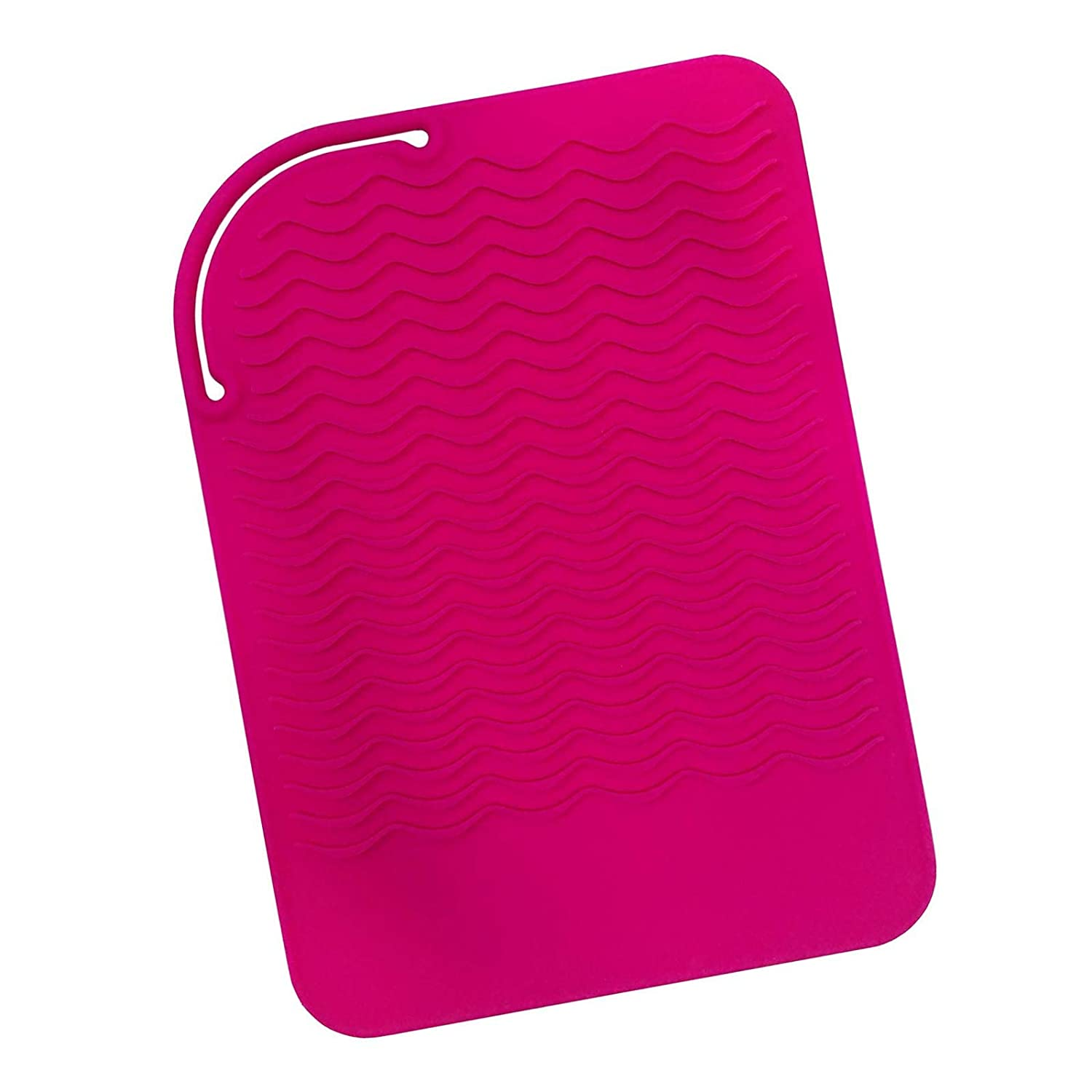 Sygile Silicone Heat Resistant Travel Mat, Anti-heat Pad for Hair Straighteners, Curling Irons, Flat Irons and Other Hot Styling Tools - Hot Pink