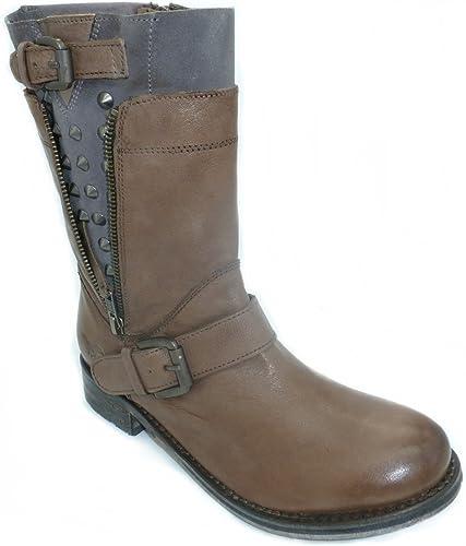 MUSTANG Shoes Damen Rocker Echt Leder Stiefelette Stiefel
