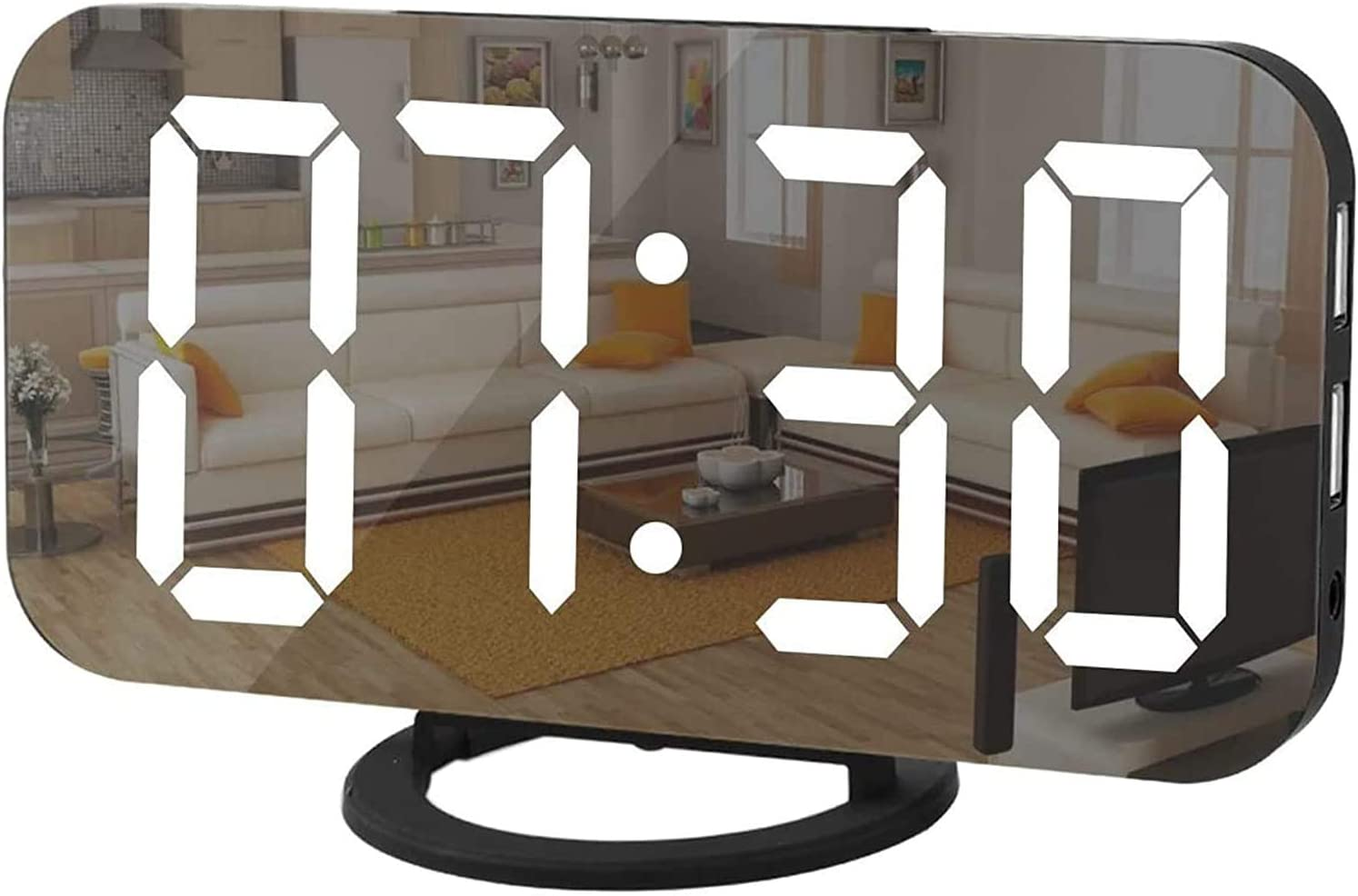 HowiseAcc LED Digital Alarm Clock,Portable LED Mirror Alarm Clocks with 2 USB Port,6.5