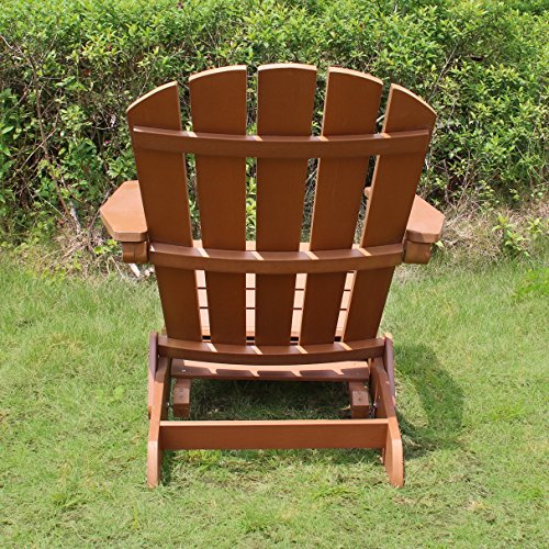 Merry Garden Faux Wood Folding Adirondack Chair with Pullout Ottoman, Outdoor, Garden, Lawn, Deck Chair