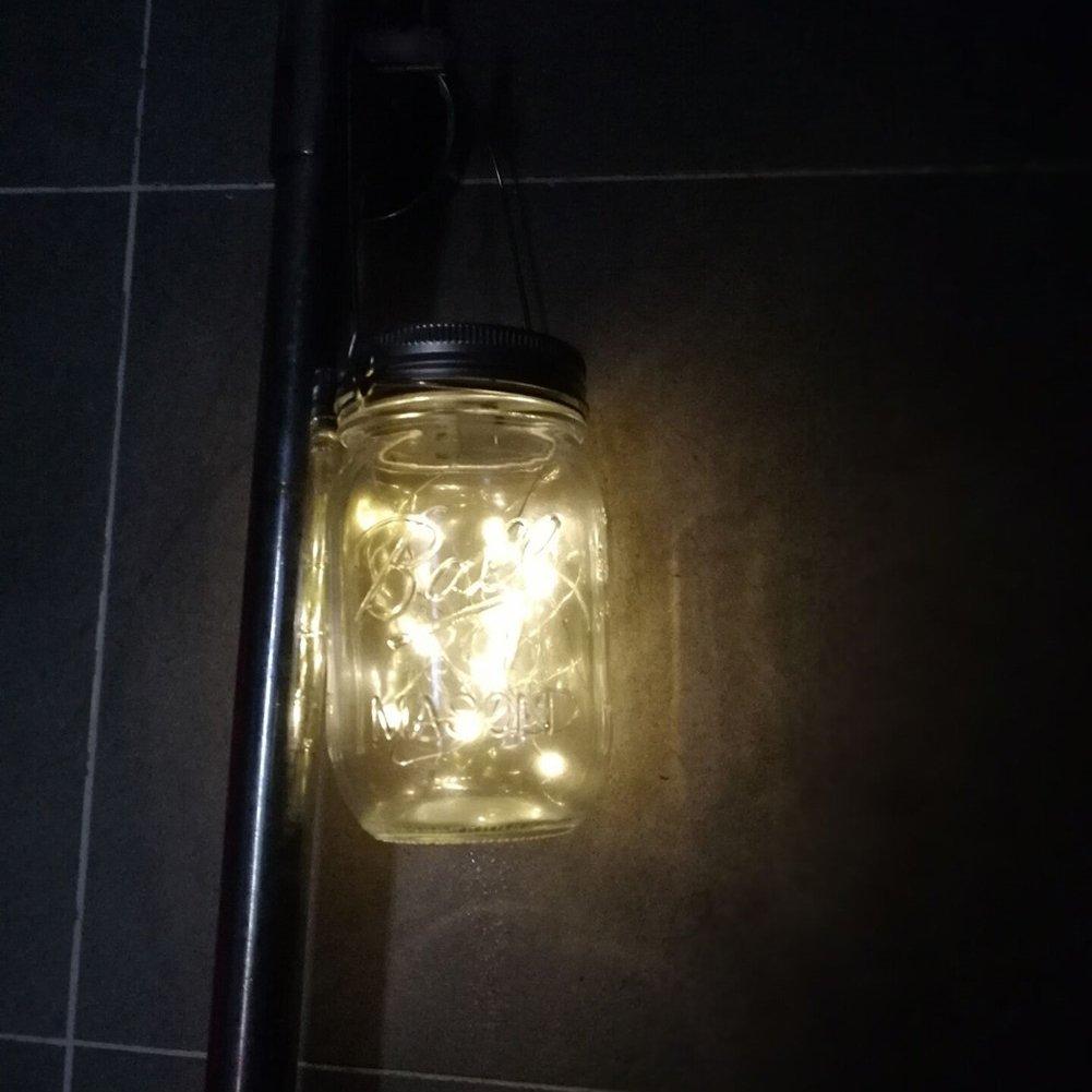 Solar Powered Mason Jar Hanging Lights 2-Pack 20 LED Solar / Hanging Lantern Decor Table Light, Patio Path Light, Warm White Lamp for Garden Patio Outdoor Solar Lanterns( Mason Jar & Hanger Included … by Tellunow (Image #4)