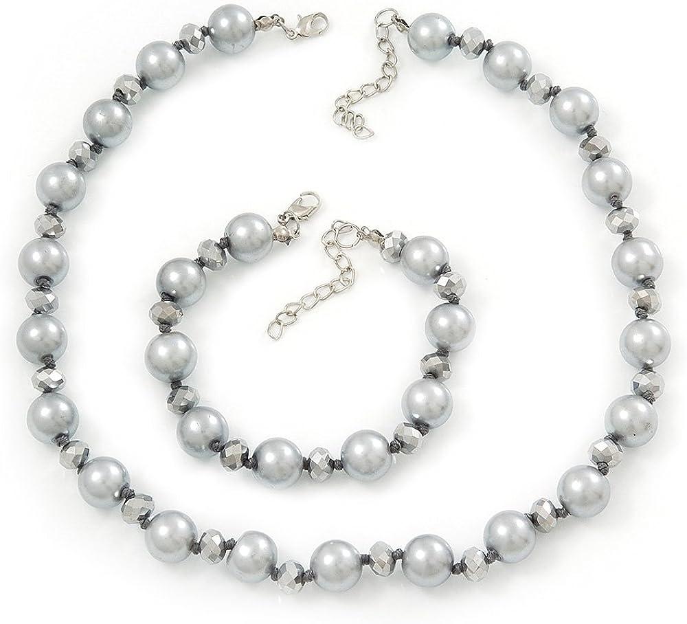 Avalaya - Juego de collar y pulsera de perlas de cristal simulado gris claro y gris metálico chapado en plata - 38 cm de longitud/4 cm de extensión