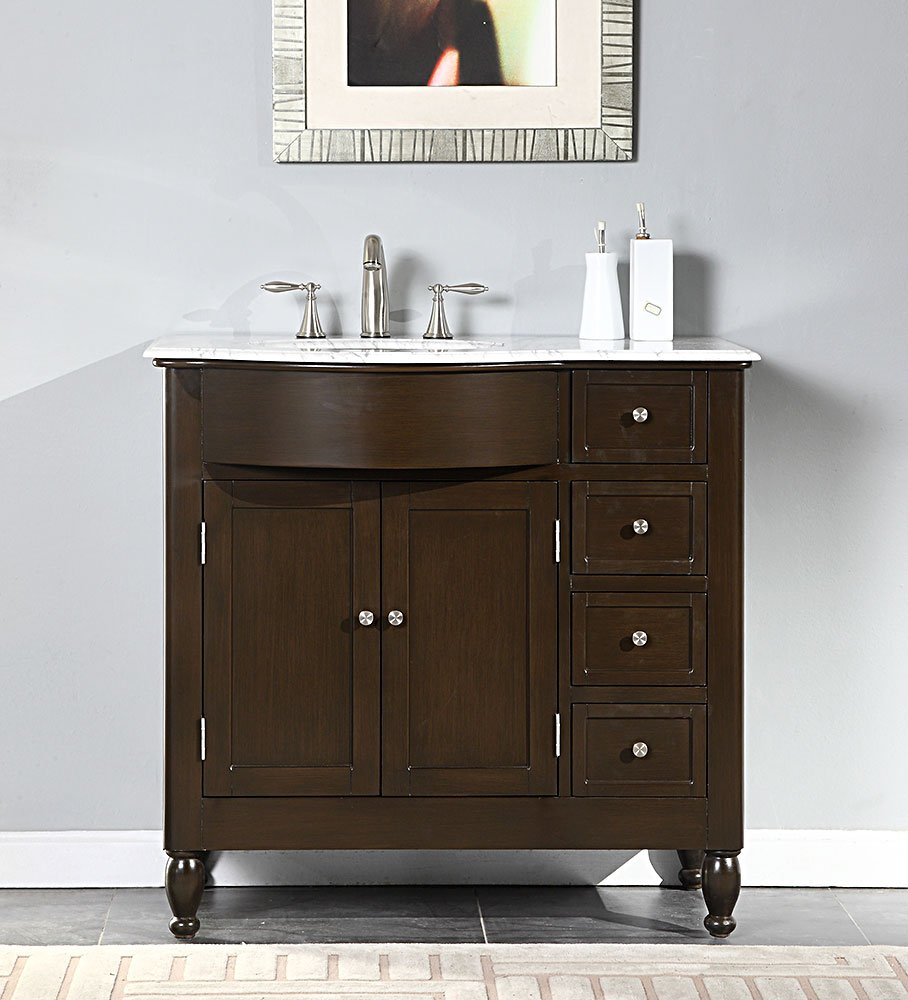 30 vanity with sink.  Single Left Sink Cabinet with 4 Drawers 2 Doors Carrara White Marble Top and Undermount Ceramic 3 Hole in Espresso Vanity Silkroad Exclusive HYP 0902 WM UWC 38 L