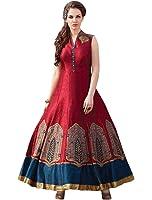 Sancom Women's Banglori Silk Anarkali suit (ES+71143__Red_Free Size)