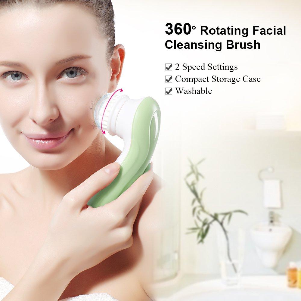 TOUCHBeauty TB-0759A-M Set pulizia viso a rotazione 3in1 con 3 spazzole intercambiabili per pelle grassa/pelle sensibile/esfoliante Comprende 3 diverse spazzole da applicare per trattamenti di pulizia o esfoliazione