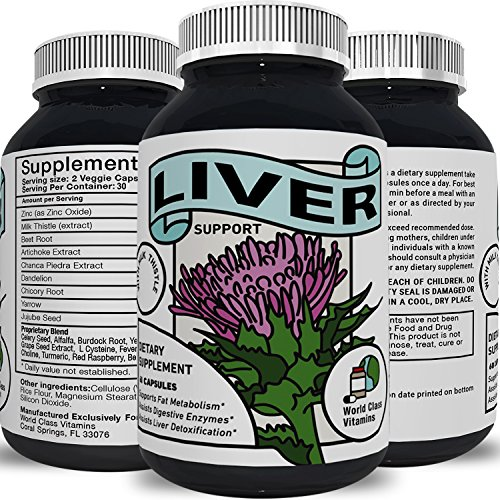 Best Liver Supplements with Milk Thistle + Artichoke + Dandelion Root Support Healthy Liver Function for Men & Women - Natural Detox Cleanse Capsules Boost Immune System Relief - World Class Vitamins
