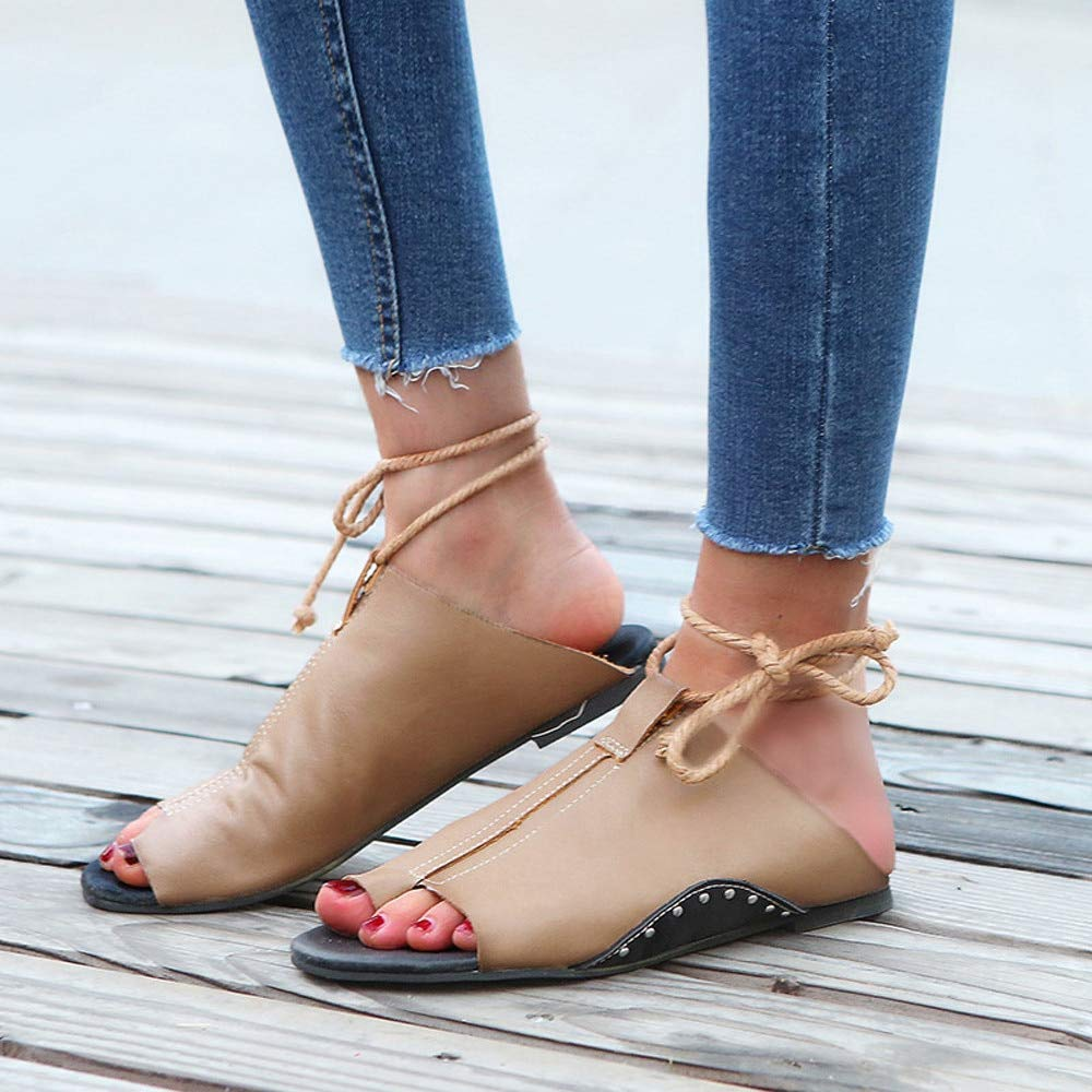 Amazon.com: Sandales Femme 2018 Women Flat-Bottomed Roman Sandals Open Ankle Flat Straps Platform Shoes Sandalias Mujer: Kitchen & Dining