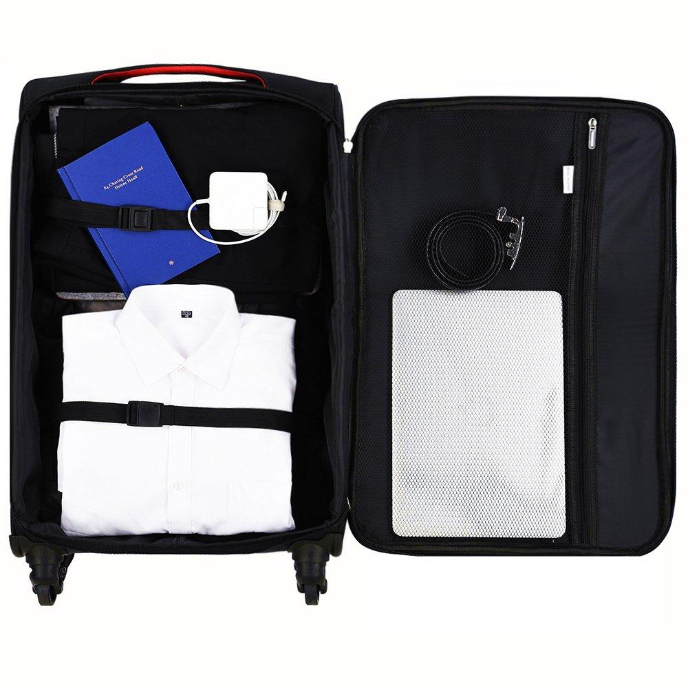 LuggageSetSuitcaseSet3PieceLuggageLightweightSoftShellwith4RollingSpinnerWheelsSuper Durable (20inch,24inch,28inch) (Black & purple) by LEMOONE (Image #6)