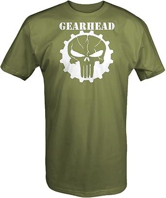 GearHead agrietada calavera de el Castigador over Gear mecánico Carreras Camión T Shirt: Amazon.es: Ropa y accesorios