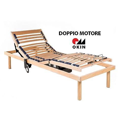 MEMORYLINE Super Offerta - Luxury Line Rete elettrica motorizzata Singola  (80x190), Doppio Motore OKIN, Telaio in Legno di faggio, ammortizzatori in  ...