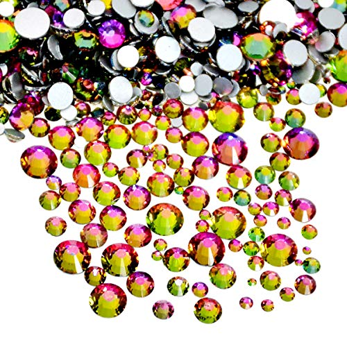 AD Beads 1440pcs Mixed Size Non Hotfix Quality Rhinestones Flatback Nail Art Pick Color (Rainbow 28)