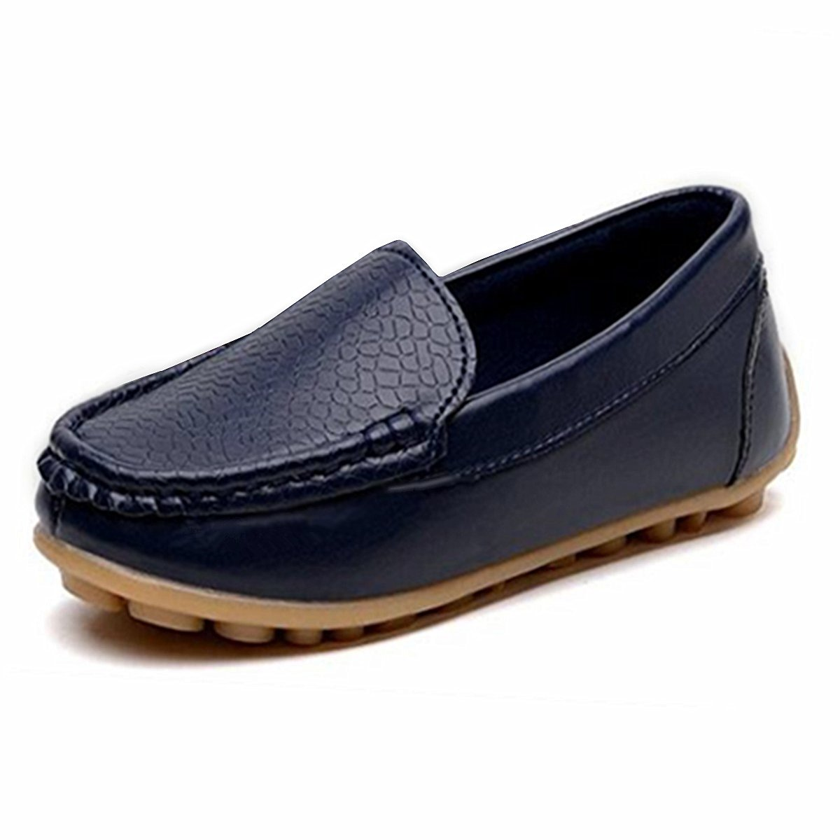 RVROVIC Kids Girls Boys Slip-on Loafers Oxford PU Leather Flats Shoes(Toddler/Little Kid) (10 M Toddler/CN Size 28/17.3cm, Dark Blue)