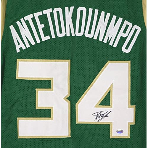 0fb68dbcc Giannis Antetokounmpo Milwaukee Bucks Signed Autographed Green  34 Custom  Jersey
