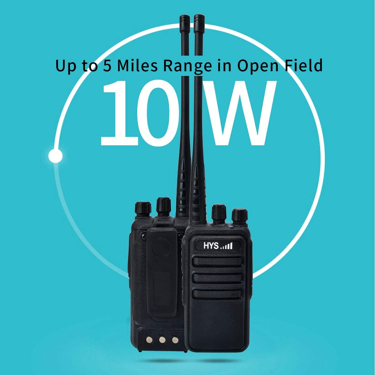 HYS Two-Way Radios Long Range 2 Pack Walkie Talkies Up to 5 Miles Range in Open Field 16 Channel 400-470MHz UHF Handheld Radios with Li-ion Battery and Charger Included