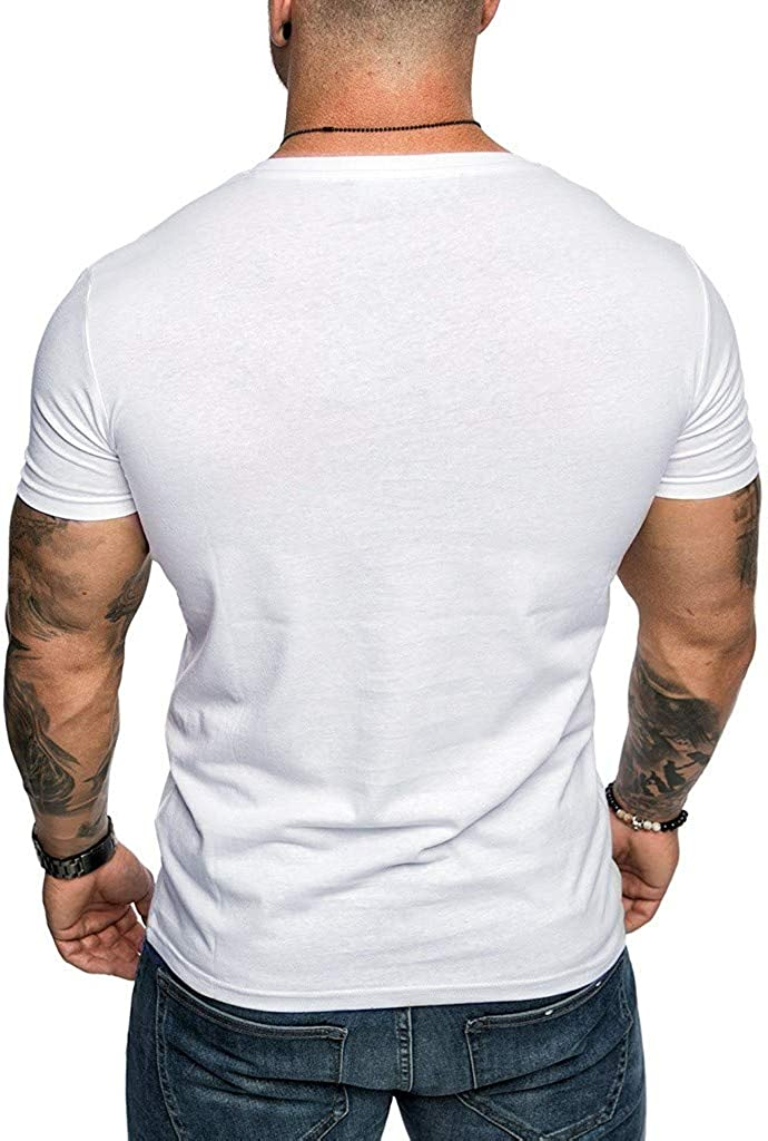 Ellymi Mens Casual Slim Fit Short Sleeve with Pocket T-Shirts Summer V-Neck Tops Soft Breathable Blouse