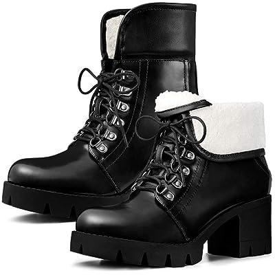 Allegra K Women's Lug Sole Combat Block Heel Ankle Boots   Ankle & Bootie