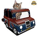 Kitty Cab - The Union Jack Black Cab is a Stylish Cardboard Toy Designed to Entertain Adult Cats - Kittens or Rabbits– Use as a Scratcher Post - Toys or Bed. Bonus eBook