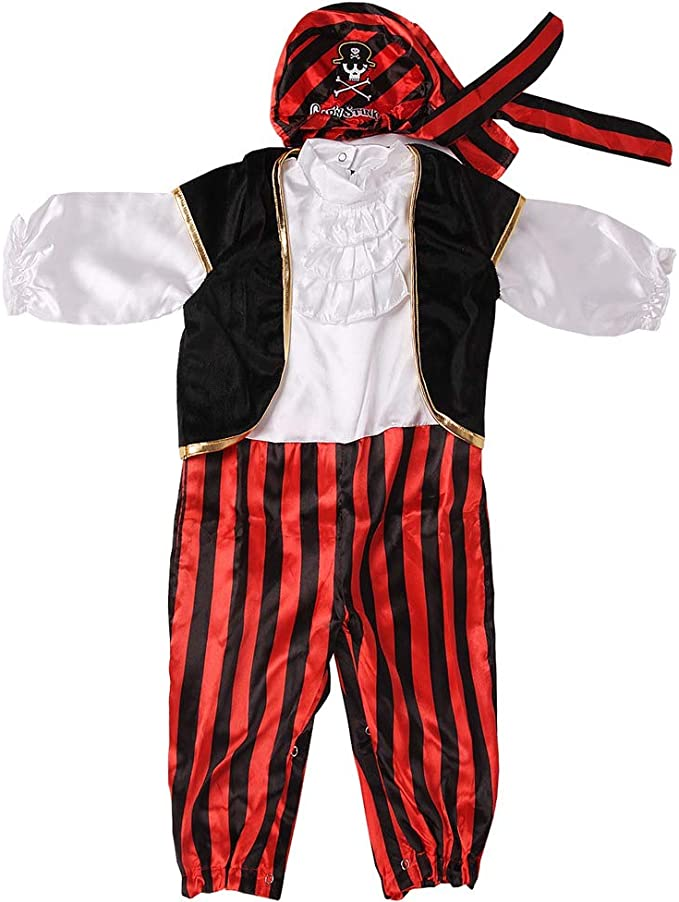 Ultra Comfortable Stripes Captain Infant Costumes with Vest Cap and Belt for Boys Black Baby Pirate Costume