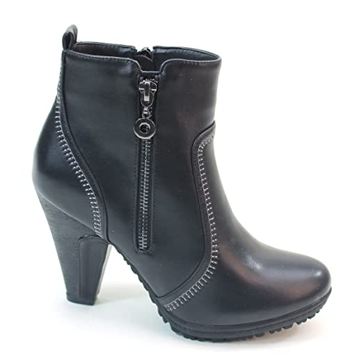 New Brieten Women's Zipper Middle Chunky Heel Ankle Boots