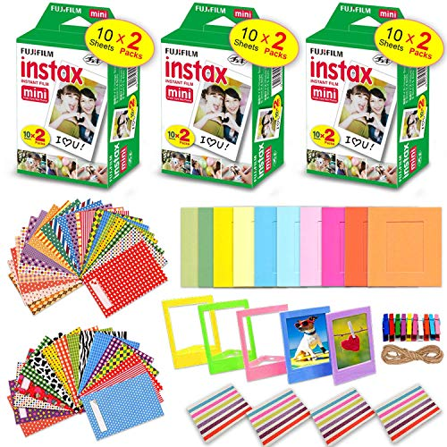 Xtech Accessories Kit for Fujifilm Instax Mini 9/8 Camera Includes: 3 x Fujifilm INSTAX Mini Film Pack (60 Sheets Total), 60 Colorful Mini 9 Sticker Frames, Colorful Plastic & Paper Frames + More