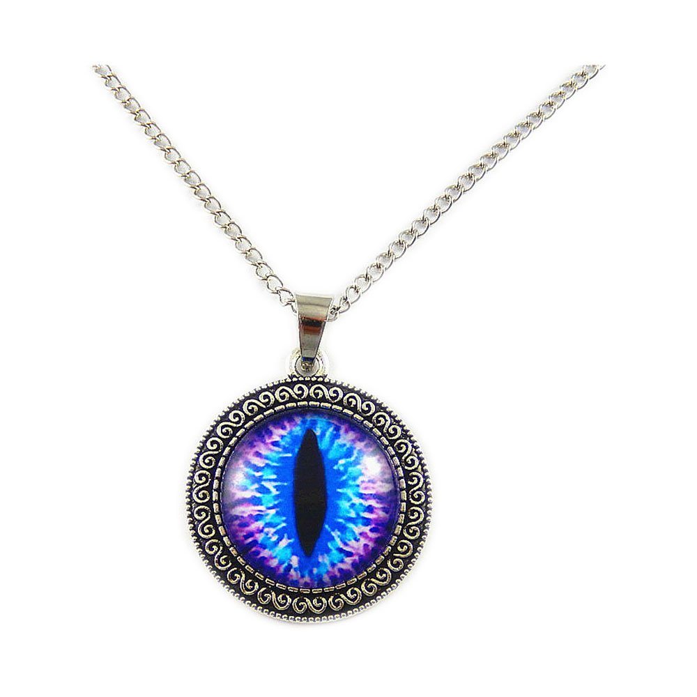 Vintage Tibetan Silver Dragon Eye Pendant Necklace Purple Blue Pupil Fashion Hot Unisex Women Men GraceAngie GR-151/G